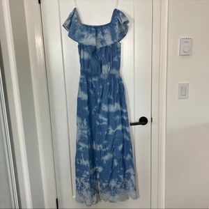 Max Jeans off the shoulder tie dye maxi dress blue